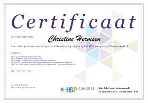 Certificaat HSP Congres - Hoogsensitief - Hooggevoelig